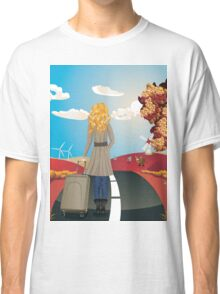 Autumn Landscape with Girl Classic T-Shirt