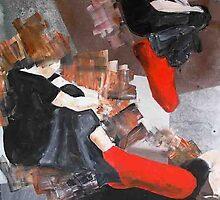 3 siluets in red socks by Evguenia  Men