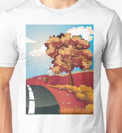 Autumn Landscape with Road Unisex T-Shirt