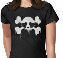 White Skull with Heart Eyes  Womens Fitted T-Shirt