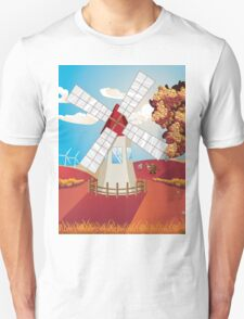 Autumn Landscape with Windmill T-Shirt