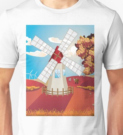 Autumn Landscape with Windmill Unisex T-Shirt