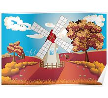 Autumn Landscape with Windmill Poster