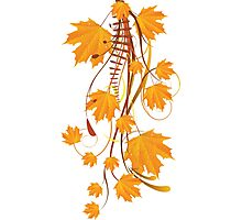 Autumn floral ornament with orange maple leaves 2 Photographic Print