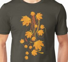 Autumn floral ornament with orange maple leaves 2 Unisex T-Shirt