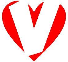 I love V - Heart V - Heart with letter V by theshirtshops