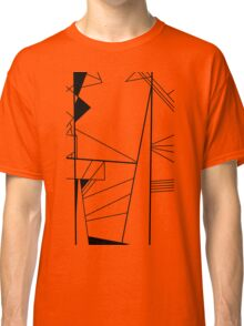 Shard abstract minimalist vector art in black and white Classic T-Shirt