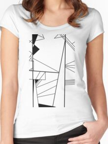 Shard abstract minimalist vector art in black and white Women's Fitted Scoop T-Shirt