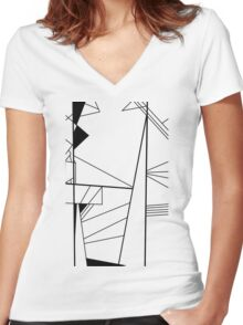 Shard abstract minimalist vector art in black and white Women's Fitted V-Neck T-Shirt