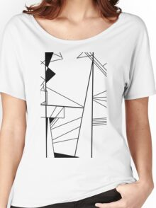 Shard abstract minimalist vector art in black and white Women's Relaxed Fit T-Shirt