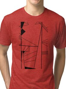 Shard abstract minimalist vector art in black and white Tri-blend T-Shirt