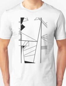 Shard abstract minimalist vector art in black and white T-Shirt
