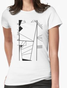 Shard abstract minimalist vector art in black and white Womens Fitted T-Shirt