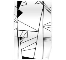 Shard abstract minimalist vector art in black and white Poster
