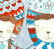 Winter hats mint Sticker