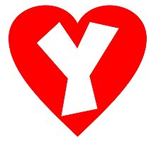 I love Y- Heart Y - Heart with letter Y Photographic Print