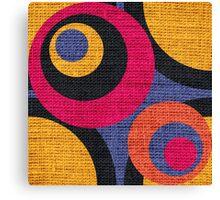 Retro Colored Circles Burlap Rustic Jute Canvas Print