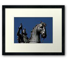 Pigeon atop Philip III atop horse, Plaza Mayor, Madrid Framed Print
