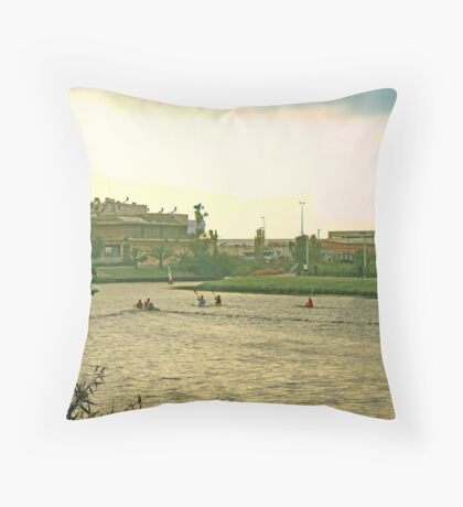 Active Summer Hayarkon River  Throw Pillow
