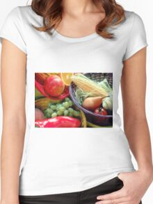 Healthy Fruit and Vegetables Women's Fitted Scoop T-Shirt