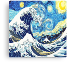 Starry Night Blue Art Painting Canvas Print