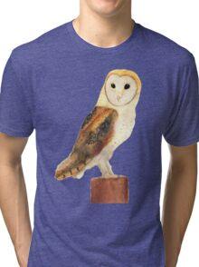 Watercolour Barn Owl Tri-blend T-Shirt