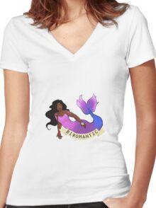 Biromantic Mermaid Women's Fitted V-Neck T-Shirt