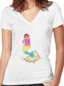 Pansexual Mermaid Women's Fitted V-Neck T-Shirt