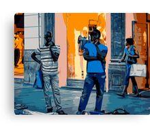 Street Vendors at Night - Madrid Canvas Print