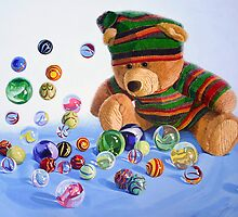 Teddy and marbles by Freda Surgenor