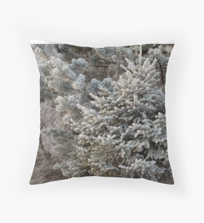 Hoarfrost on branches of spruce Throw Pillow