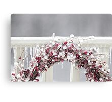 Red Berry Iced Wreath Canvas Print
