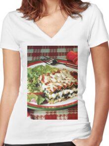 Lasagna Dinner Women's Fitted V-Neck T-Shirt
