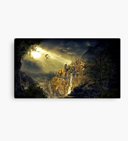 Dragon against man Canvas Print
