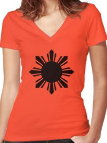 Pinoy Sun Women's Fitted V-Neck T-Shirt