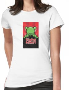 Big Fat Robot eats Melbourne - red with logo Womens Fitted T-Shirt