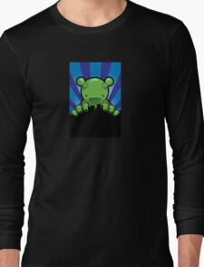 Big Fat Robot eats Melbourne - blue Long Sleeve T-Shirt
