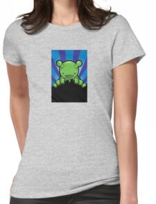 Big Fat Robot eats Melbourne - blue Womens Fitted T-Shirt
