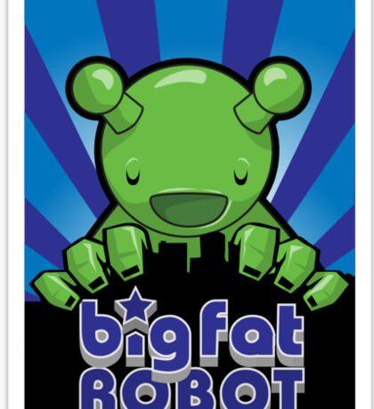 Big Fat Robot eats Melbourne - blue with logo Sticker