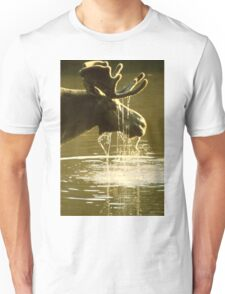 Moose Dipping His Head Into Water Unisex T-Shirt