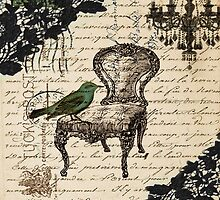 shabby chic vintage bird scripts french chair chandelier  by lfang77