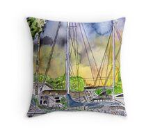 Boat Marina Throw Pillow