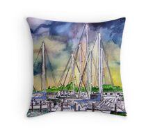 Melbourne Florida Boat Marina Throw Pillow