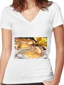 Apple Pie Dessert  Women's Fitted V-Neck T-Shirt