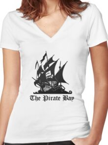 The Pirate Bay Women's Fitted V-Neck T-Shirt