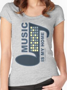 Music Is My Home Women's Fitted Scoop T-Shirt