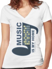 Music Is My Home Women's Fitted V-Neck T-Shirt