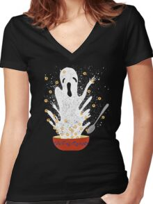 Haunted Breakfast Women's Fitted V-Neck T-Shirt