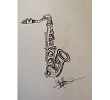 A saxophone in charcoal Photographic Print