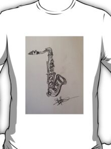 A saxophone in charcoal T-Shirt